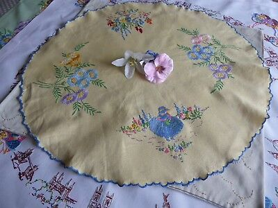 Vintage Hand Embroidered Linen Cloth/small - Beautiful Crinoline Lady  & Flowers