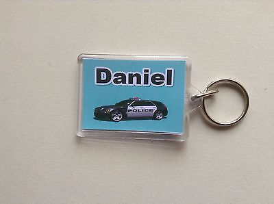 Personalised Keyring/ Bag ID  - Police Car  Design