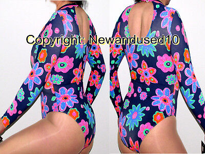 Beautiful Brand New Hawaiian Floral Bodysuit Or Leotard Sexy Open Back Suit