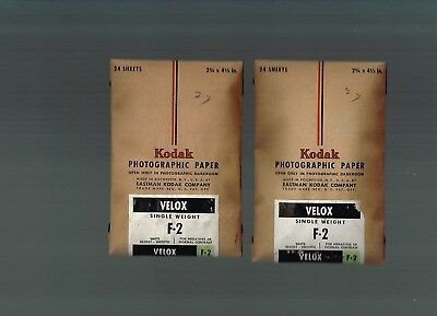 TWO 1945  Kodak Velox Glossy Sealed 2 3/4 x 4 1/2  Photographic Paper