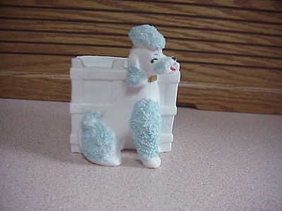 Very Unique Spaghetti Poodle Planter - Poodle Has Blue Spaghetti Trim -E5873