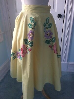 Vintage hand made 1950's cotton circle skirt with embroidered flowers