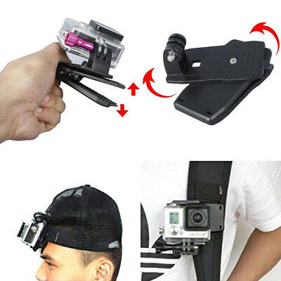 360 Rotary Backpack Hat Mounts Clip Fast Clamp Mount for GoPro 2 3 3+ 4 Fast US