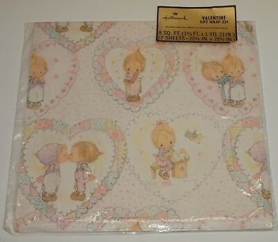 Vintage Gift Wrapping Paper Hallmark BETSEY CLARK Valentine's Day 2 Sheets NIP