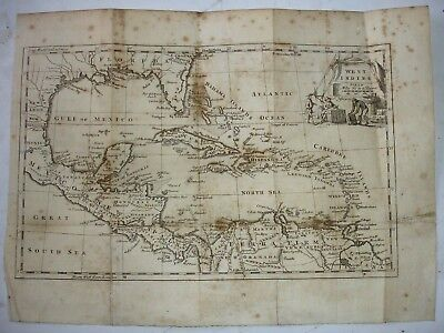 18th century  MAP WEST INDIES by  T JEFFERYS