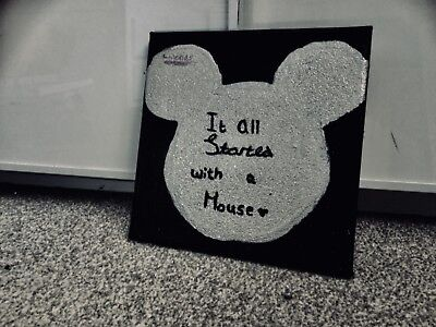 mickey mouse canvass hand crafted black background with silver Mickey Mouse .