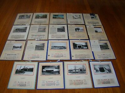 19 Advertising Calendars 1940-1970 Graphics/Real Photos Chester County, PA