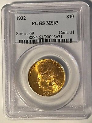 1932 Us $10 Gold Eagle Indian Coin Pcgs Ms62 Ms 62