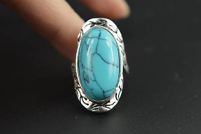 Collectible Decorated Miao Silver Carving Totem Inlay Turquoise Rare Lucky Ring