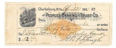 Antique 1901 ~ THE PEOPLES BANKING AND TRUST CO. ~ CLARKSBURG, W. VIRGINIA