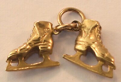 14k Yellow Gold 3-D Pair Of Ice Skates Charm 12.3mmx16.8mm