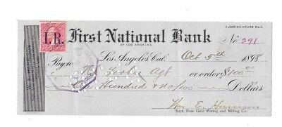 Antique 1898 ~ FIRST NATIONAL BANK ~ GOLD MINING CO. ~ LOS ANGELES, CALIFORNIA