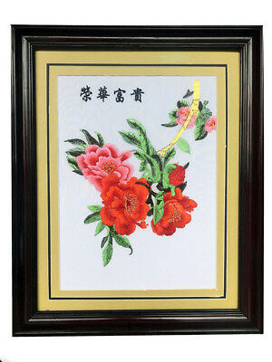 """""""Happy and Fortune Flower"""" Chinese embroidery Painting With framed *UK STOCK*"""