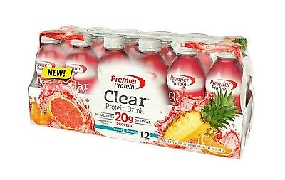 Premier Protein Clear Protein Drink, Tropical Punch Choose 12 or 24 Pack ENERGY!