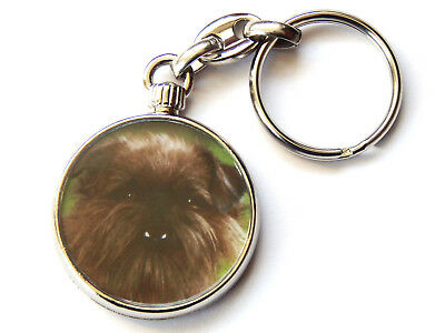 GRIFFON BRUXELLOIS Dog Puppy Quality Chrome Keyring Picture Both Sides