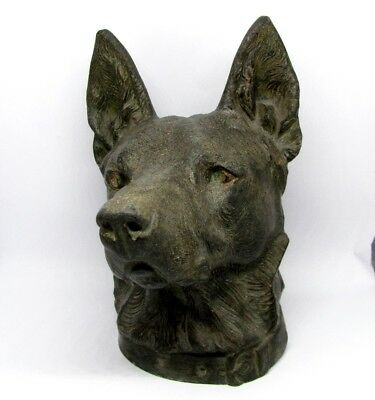 Vintage German Shepherd Dog Bust Cast Metal Figure Head