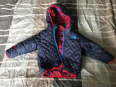 Baby Boys North Face Reversible Coat Hooded Jacket 6-12 Months Blue Red Padded