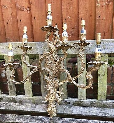 Ornate Cast Brass 6 Branch Wall Light / Chandelier.