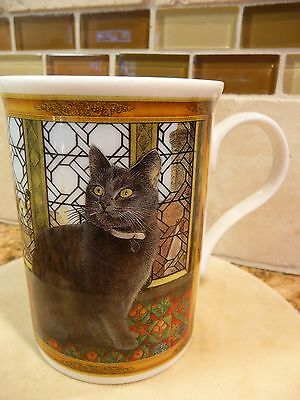 Crown Trent Bone China Cat, Kitty Coffee Cup, Mug, Grey Cat Made In England