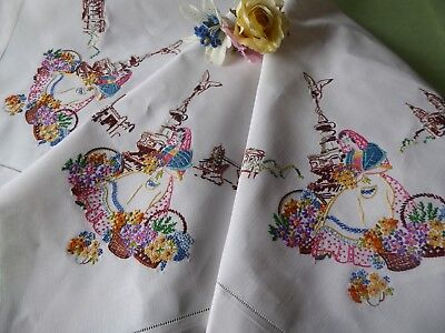Vintage Hand Embroidered Tablecloth/ Exquisite Embroidery- Pretty Flower Sellers