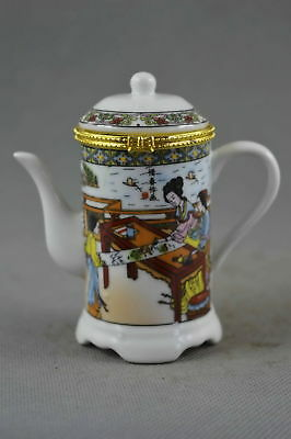 Collectable Handwork Porcelain Paint Belle & Scenery Auspicious Toothpick Box