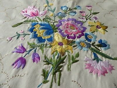 Vintage Hand Embroidered Cushion Cover /beautiful Raised Embroidery