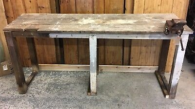 Large Industrial Vintage Antique Wooden Work Bench with Vice. Pine.