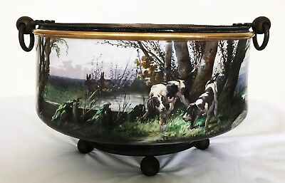 Antique French Centerpiece Bowl Jardiniere Ormolu Footed Painted Beagles Hunting