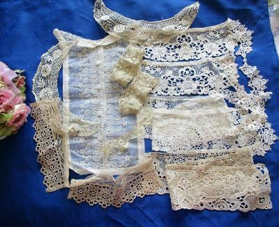 Large Antique Lot Of Lace Collars~Dress Trims~Dickie~Schiffli~Embroidered