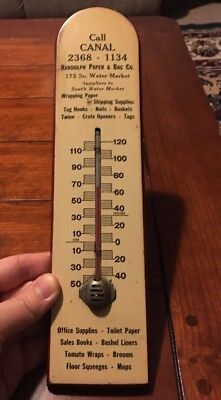 1920s Antique CHICAGO IL ILLINOIS Wooden Advertising Thermometer Randolph Canal