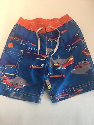 Hanna Andersson Boys Swim Shorts Blue/ Orange Shark Size 90 (3)