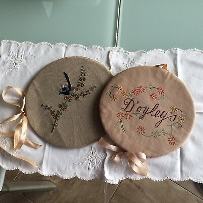 vintage doiley press x 2 handmade embroidered