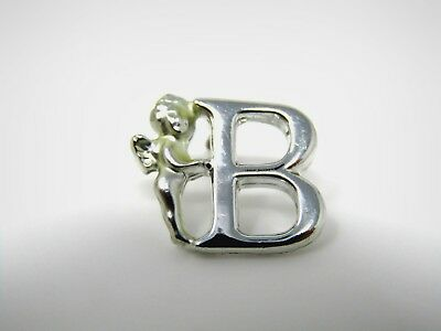 Vintage Collectible Pin: Letter B Angel Excellent Silver Tone Design