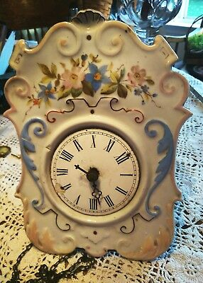 Antique Porcelain Wall Clock For Parts Only Handpainted