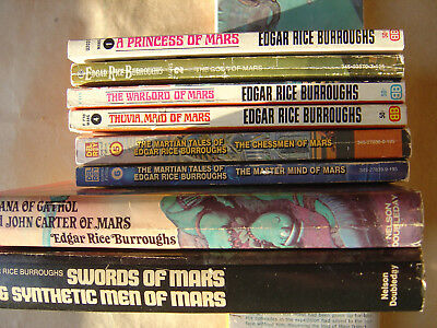 Lot of 10 Vintage John Carter / Princess of Mars Books Edgar Rice Burroughs