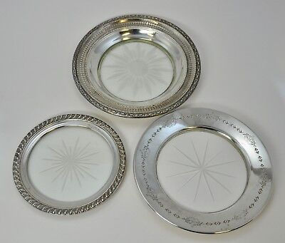 Set of 3 Large Sterling Silver and Crystal Wine Bottle Coasters (GLW)
