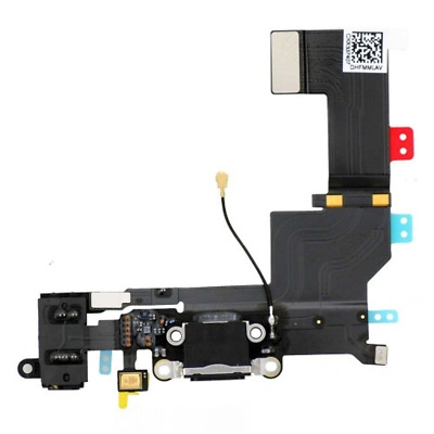 Conector Dock de carga de 3,5 mm puerto Flex Cable para iPhone 5s Negro