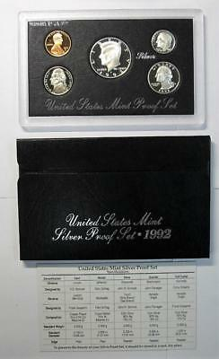1992 Silver Proof Set * 90% Silver Half, Quarter & Dime * With COA * No Reserve