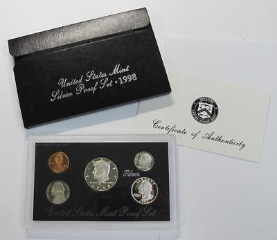 1998 Silver Proof Set * 90% Silver Half, Quarter & Dime * With COA * No Reserve