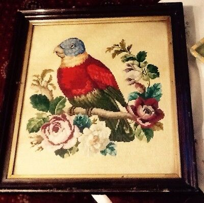Vintage Tapestry Bird Framed In A Glass  Size L19 X 16 Inches