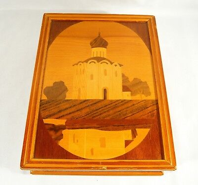 """Russian Style Wooden MARQUETRY Book BOX Building Landscape Trees 10""""  by 8"""""""
