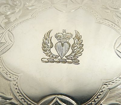 Antique Celtic  SILVER Plate Liquor TRAY Claw Ball Feet   engraved DOUGLAS CREST