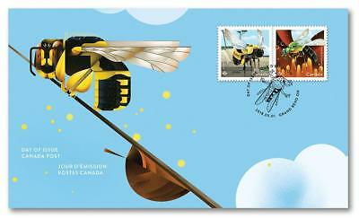 2018 CANADA Post 📭~ BEES FIRST DAY COVER 🐝🐝🐝 ~ Released May 1, 2018 📬