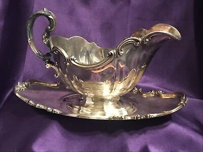 Vtg Reed & Barton-Victorian 6705-Epns-Silver Plated Gravy Boat & Tray/see Handle