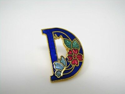 Vintage Collectible Pin: Letter D Beautiful Butterfly Flower Design