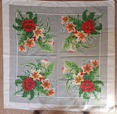 Vintage Tablecloth Red Hibiscus Flowers - cotton print