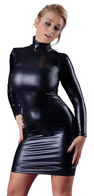 Cottelli Collection - Robes Sexy - Wetlook Robe à manches longues - Noir