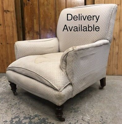 Antique Victorian Hampton & Sons Low Deep Back Gents Armchair. Howard Style.