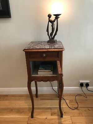 Antique Louis XV Style Bedside Pot Cupboard with Cabriolet Legs and Marble Top