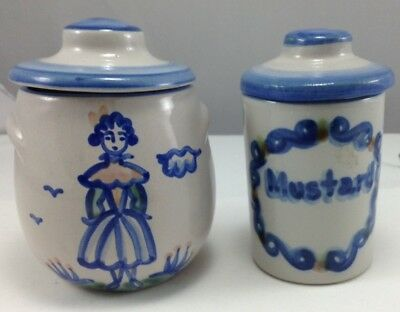 M A Hadley Pottery 4Piece Condiment Jars Small Jelly Sugar with lids Hand Painte